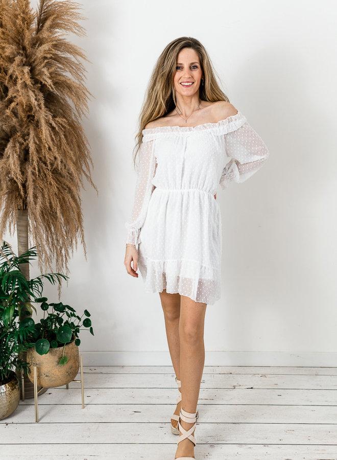 Off-Shoulder Dress White