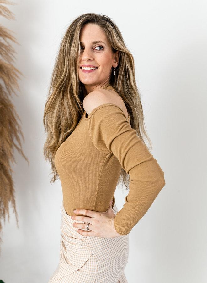 One Shoulder Top camel