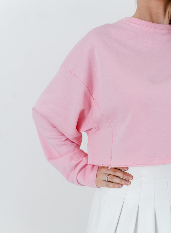 Cropped Sweater Bubble Pink