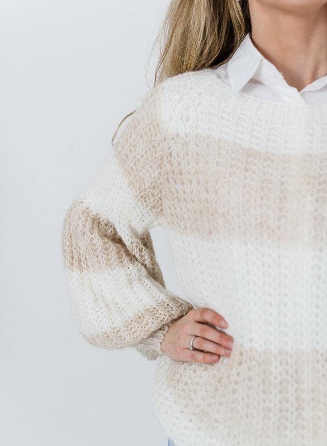 Anna Sweater Beige/Wit