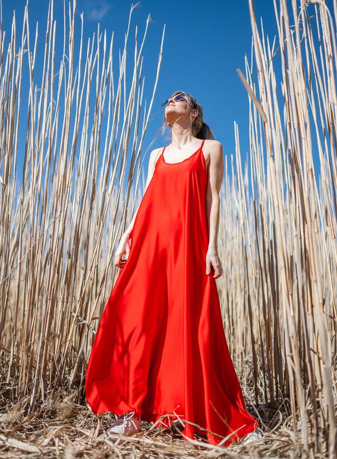 Satin Dress Red