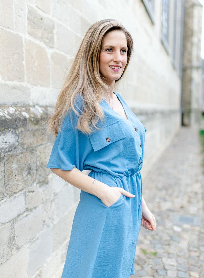 Button Dress Blue