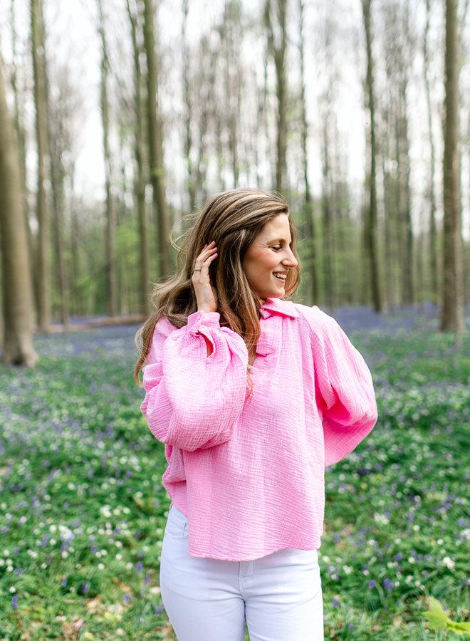Balloon Sleeves Tetra Shirt Pink