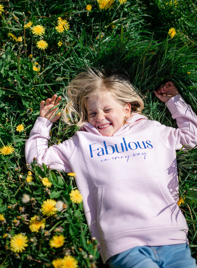 Hoodie Cotton Pink - Blue Glitter KIDS