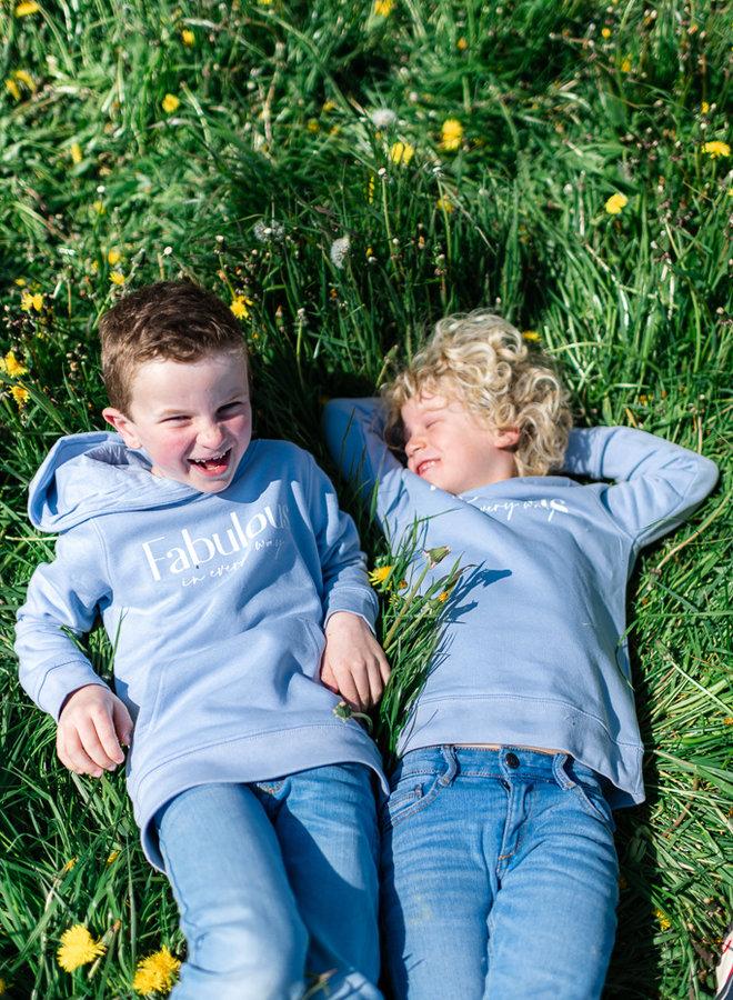 Hoodie Baby Blue - White KIDS