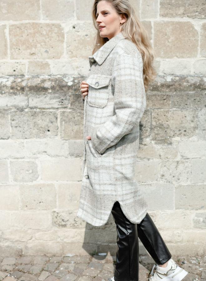 Becky Check Coat Beige/White