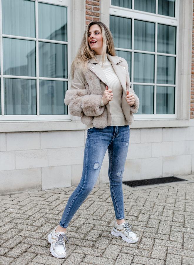 Lederlook jacket met faux fur beige