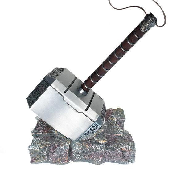 THOR - Voll-METALL Mjolnir Hammer + Sockel