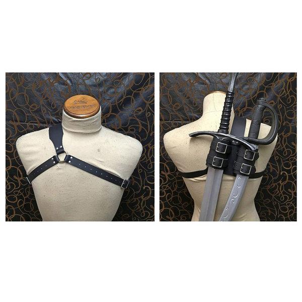 Zwaardgordel - Rug - Schouderriem - Voor 2 Zwaarden