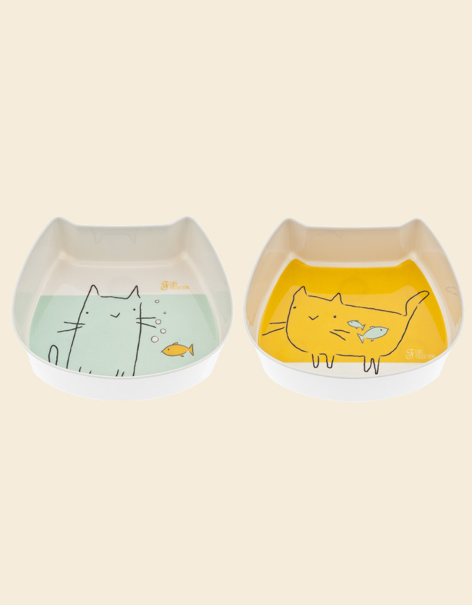 Set Plastic Eet- en drinkbak | Kat
