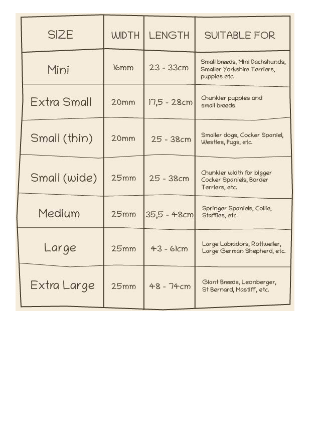 dog collars sizes
