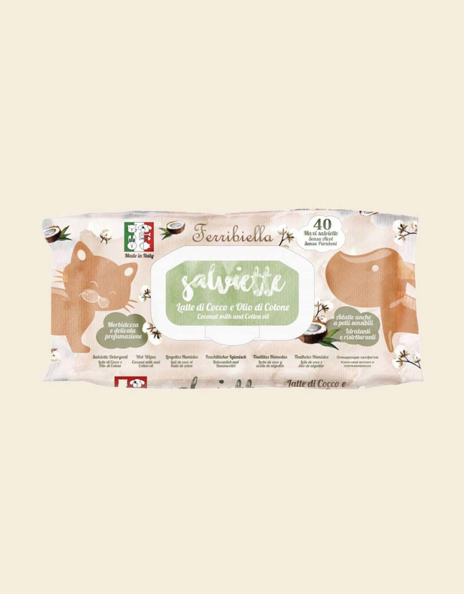 Nourishing wet wipes with Coconut scent