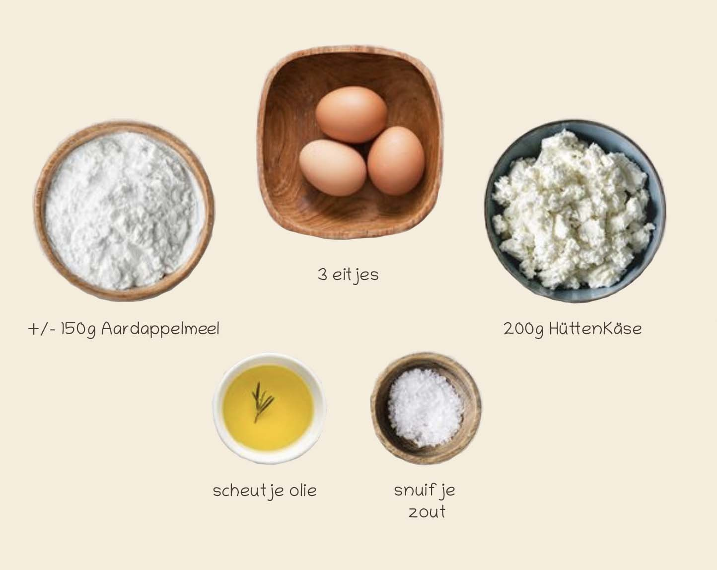 Collory Bakmat Recept 1: Aardappelmeel en Hütenkäse