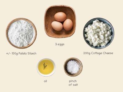 Collory Baking Mat Recipe 1: Potato starch & Cottage Cheese