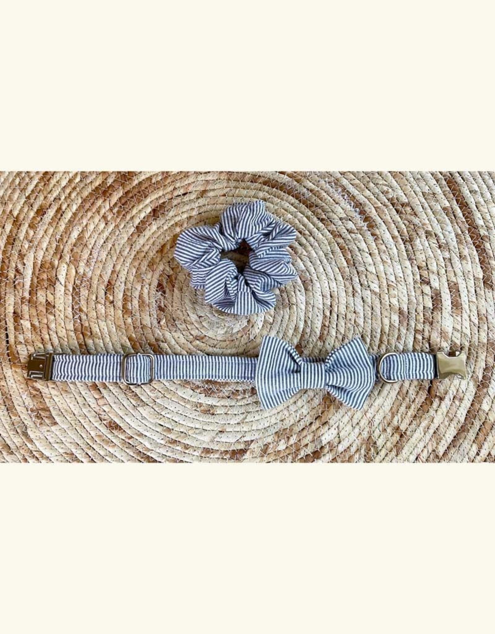 Scrunchie   Gray Blue Stripes