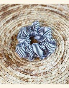 Scrunchie | Gray Blue Stripes