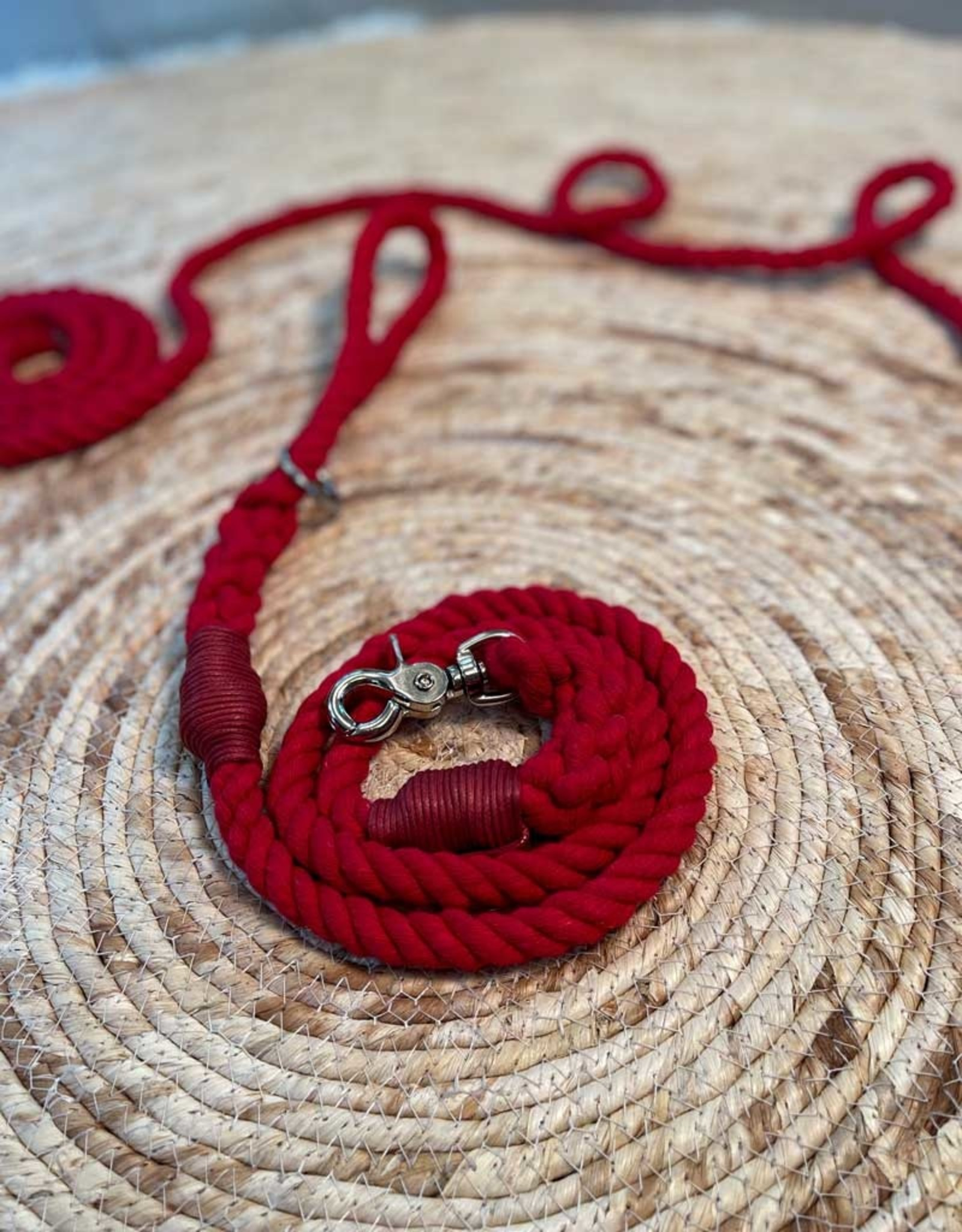 Dog Leash Cotton Rope l Red Ruby