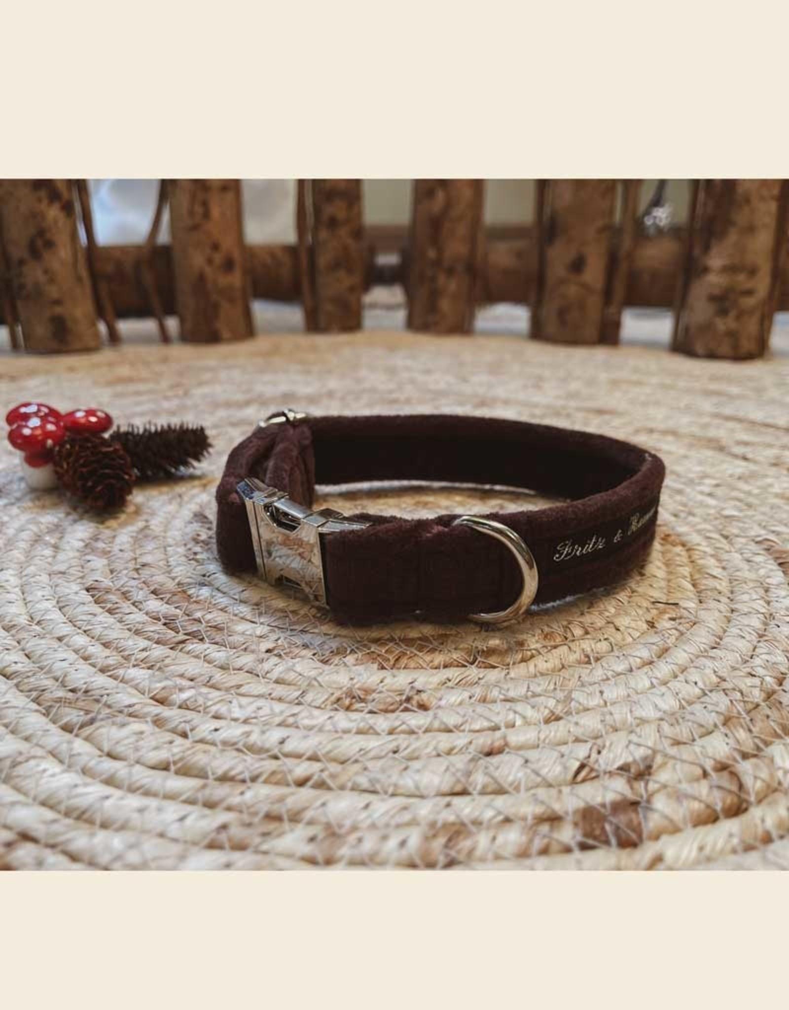 Dog Collar   Brown Velvet