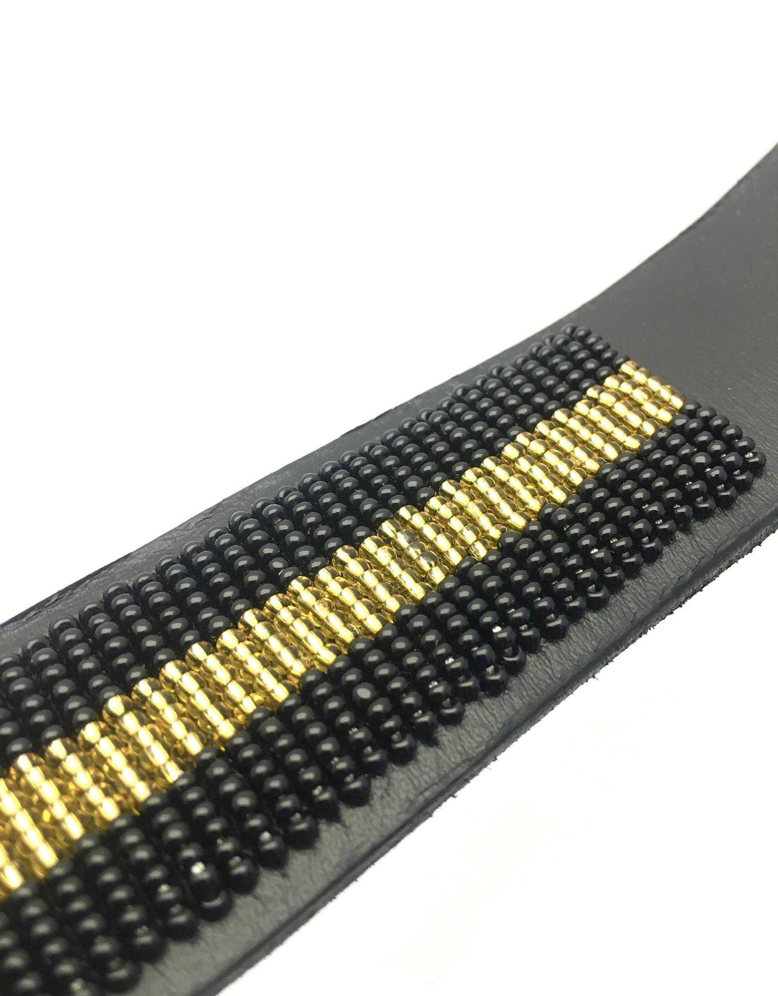 Maisha.Style Belt for Dhahabu - black leather Maasai belt with black and gold beads