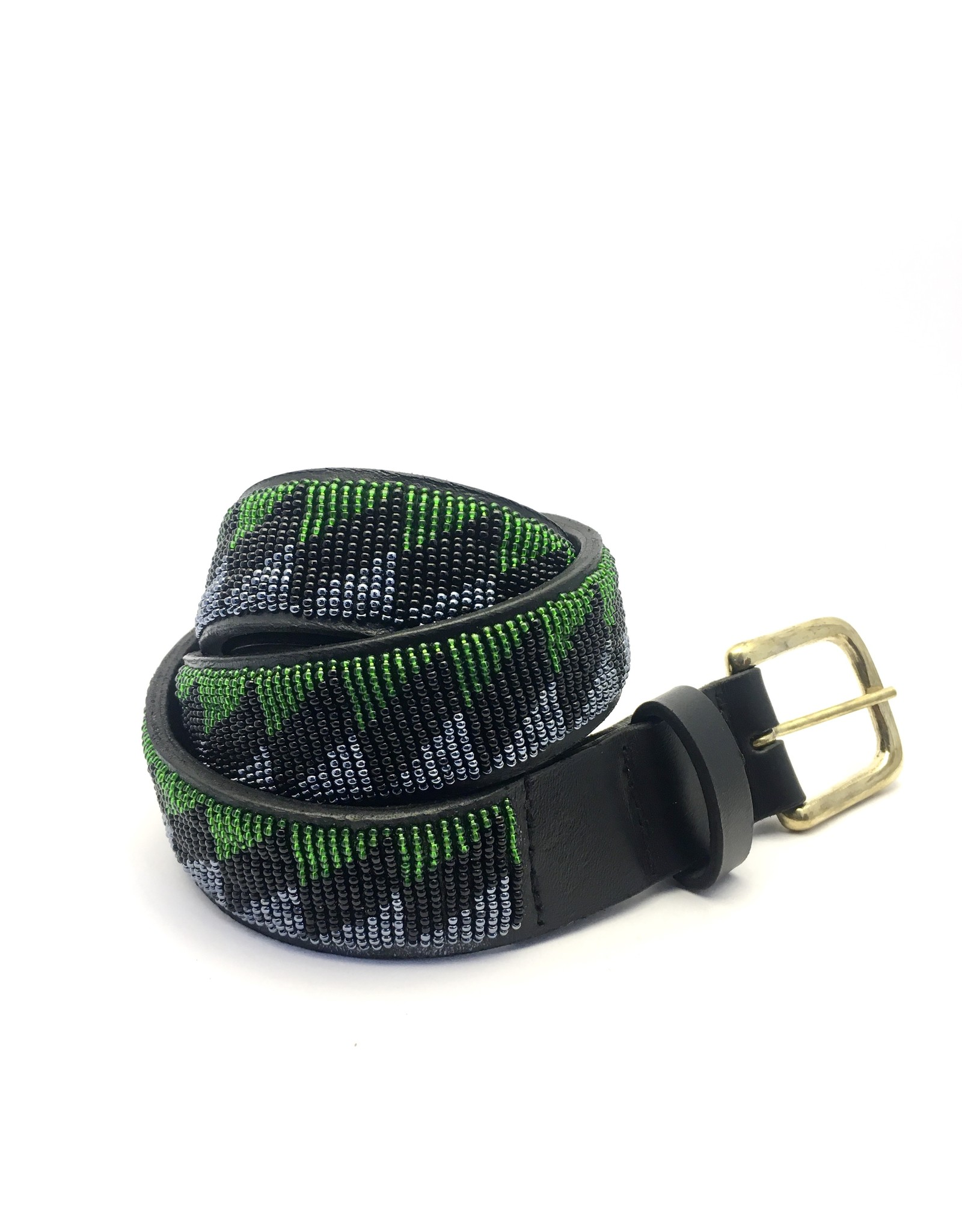 Maisha.Style Belt for Zigizag - black leather Maasai belt with black green and grey beads