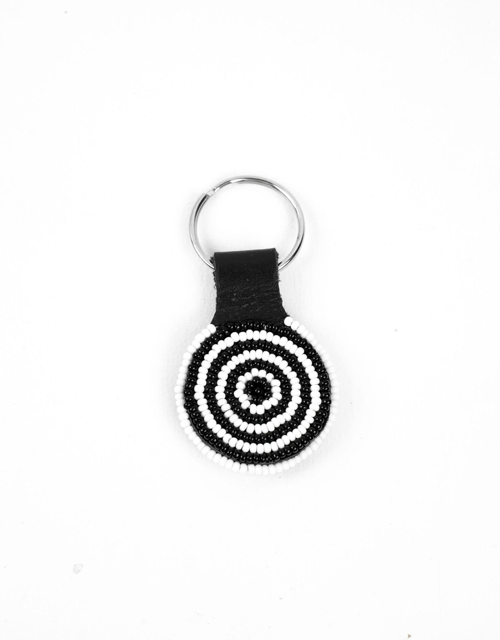 Maisha.Style Black and white beaded round keyring on black leather - Copy