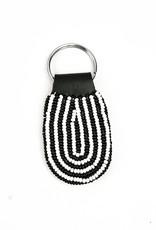Maisha.Style Black and white beaded oval keyring on black leather