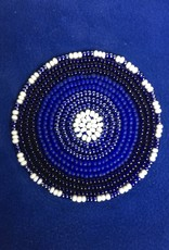 Maisha.Style Laikia purse - cobalt blue suede purse with disc of tone on tone beads