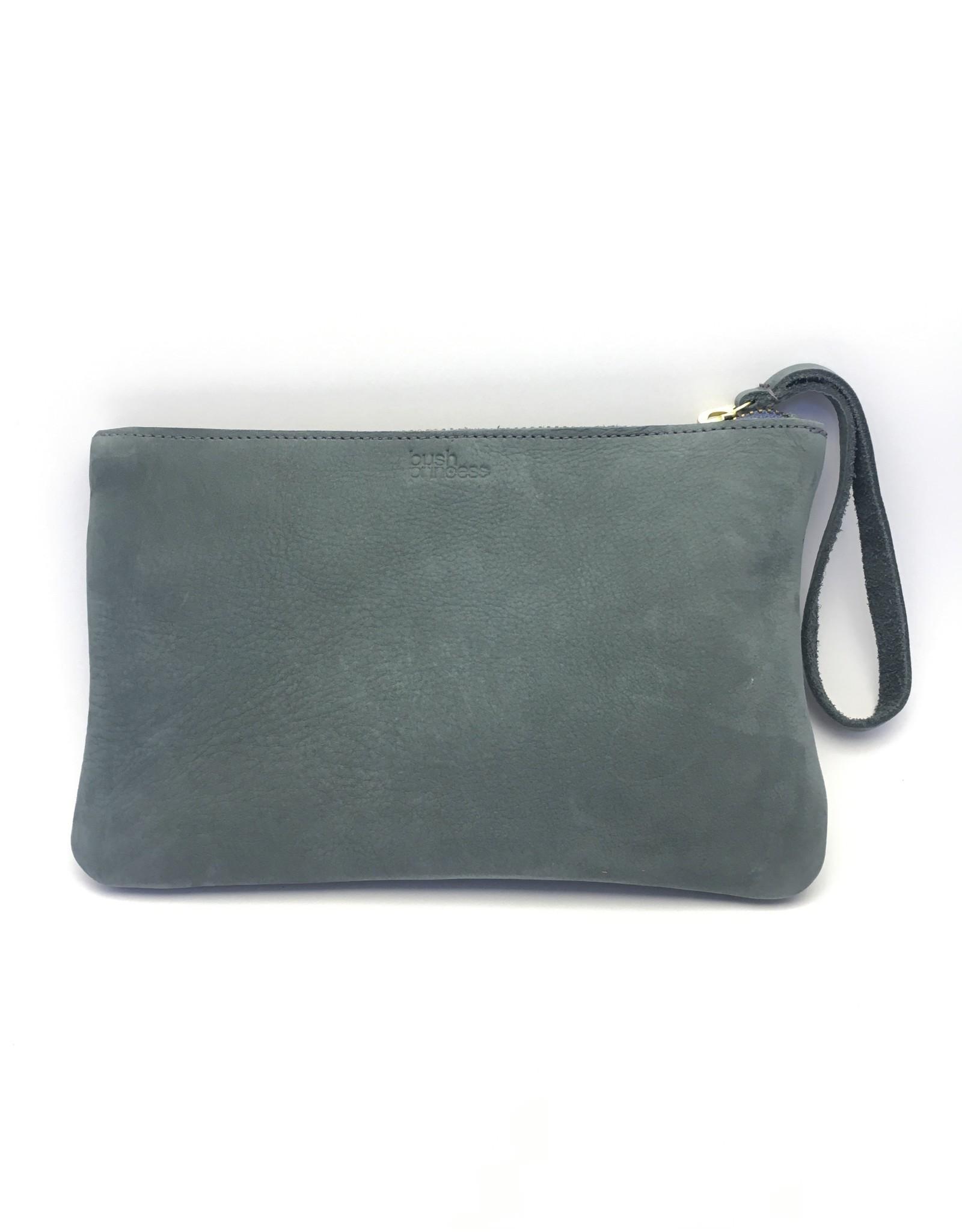 Maisha.Style Laikia purse - mouse grey suede purse with disc of tone on tone beads