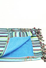 Maisha.Style Kikoy towel - stripey turquoise with baby blue towel lining