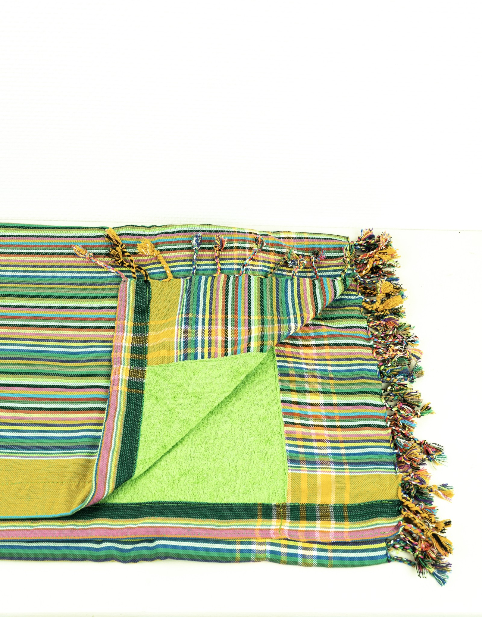 Maisha.Style Kikoy towel - stripey green with lime green towel lining