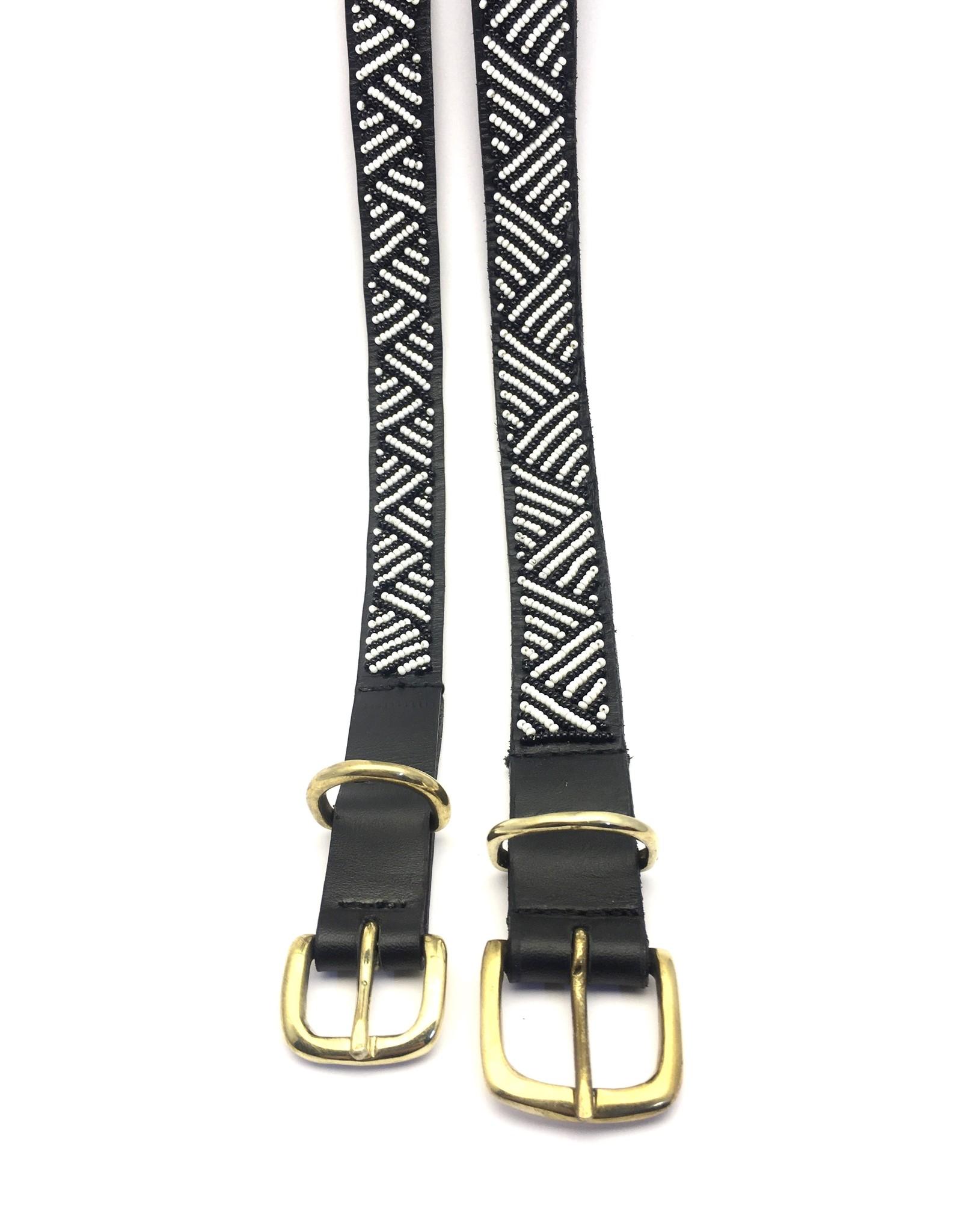 Maisha.Style Dog collar Elisa - black leather Maasai collar with black and white beads