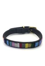 Maisha.Style Dog collar Joy - black leather Maasai collar with colourful beaded stripes