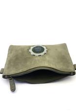Maisha.Style Maisha purse - olive suede leather purse with tone on tone beads
