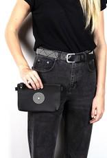 Maisha.Style Maisha purse - black leather purse with disc of black and white beads