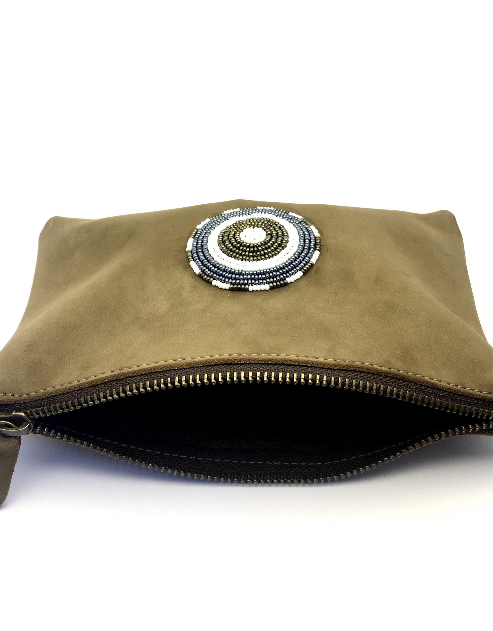 Maisha.Style Maisha purse - tan suede leather purse with tone on tone beads