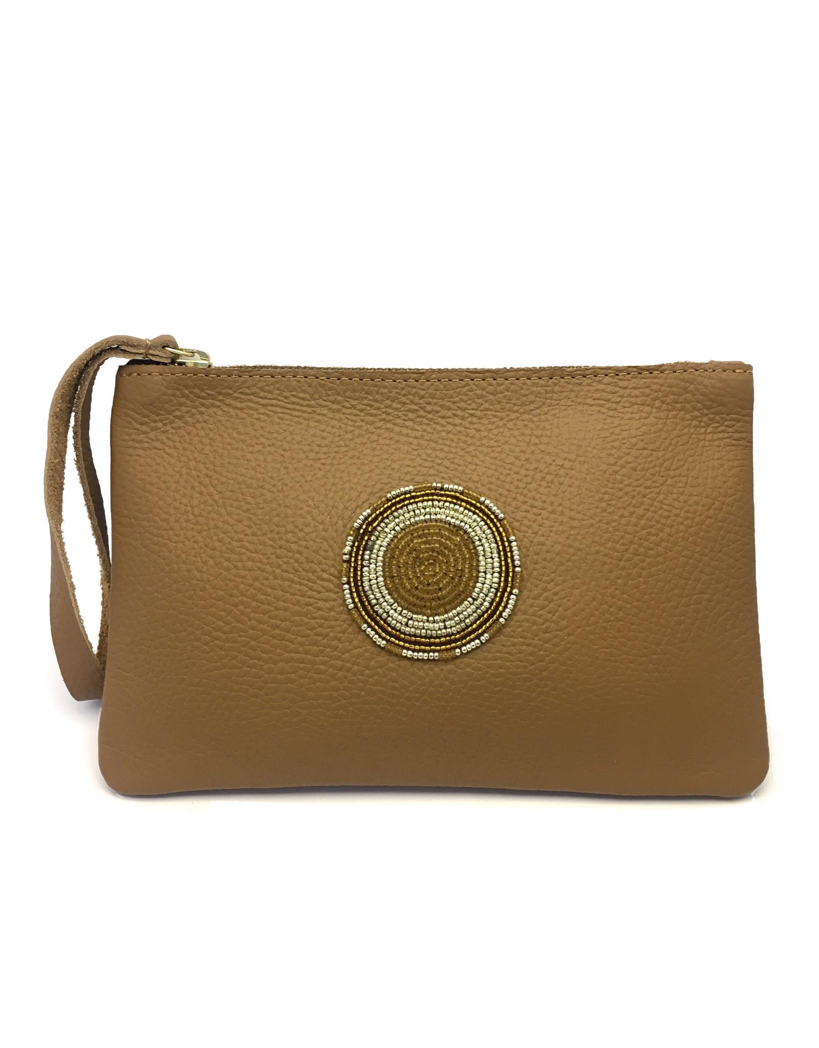 Maisha.Style Laikipia purse - tan leather purse with tone on tone beads