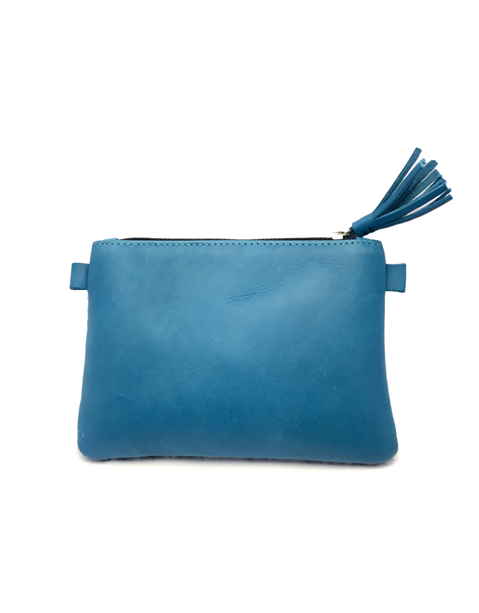 Maisha.Style Jambo purse - grey cow hide purse with turquoise leather