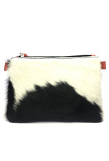 Maisha.Style Jambo purse - black and white cow hide purse with chili red leather