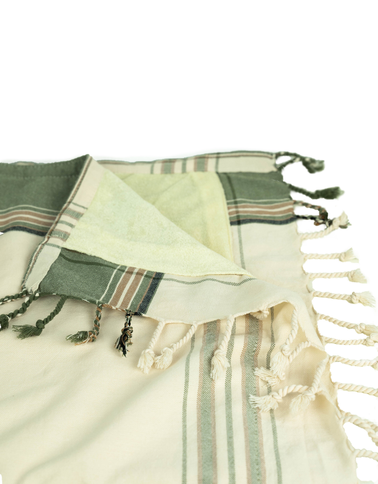 Maisha.Style Kikoy towel - stripey natural colors with beige towel lining