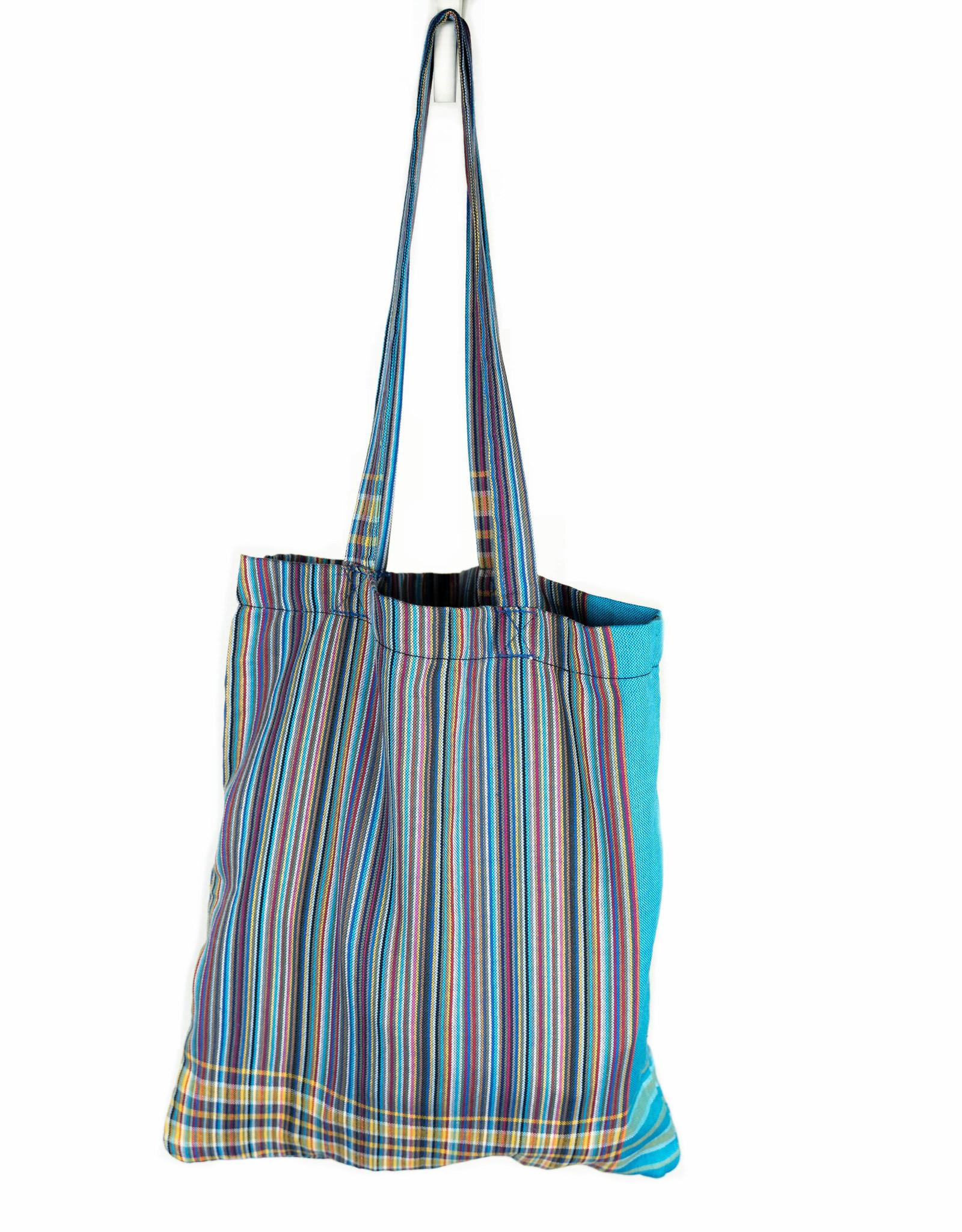 Maisha.Style Kikoy tote bag - stripey mixed blue