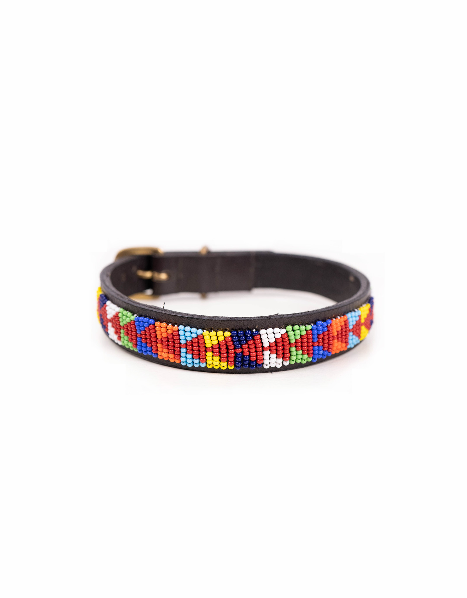 Maisha.Style Dog collar - Maasai red arrows on brown leather- Copy