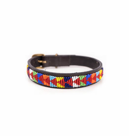 Maisha.Style Dog collar - Maasai red arrows on brown leather