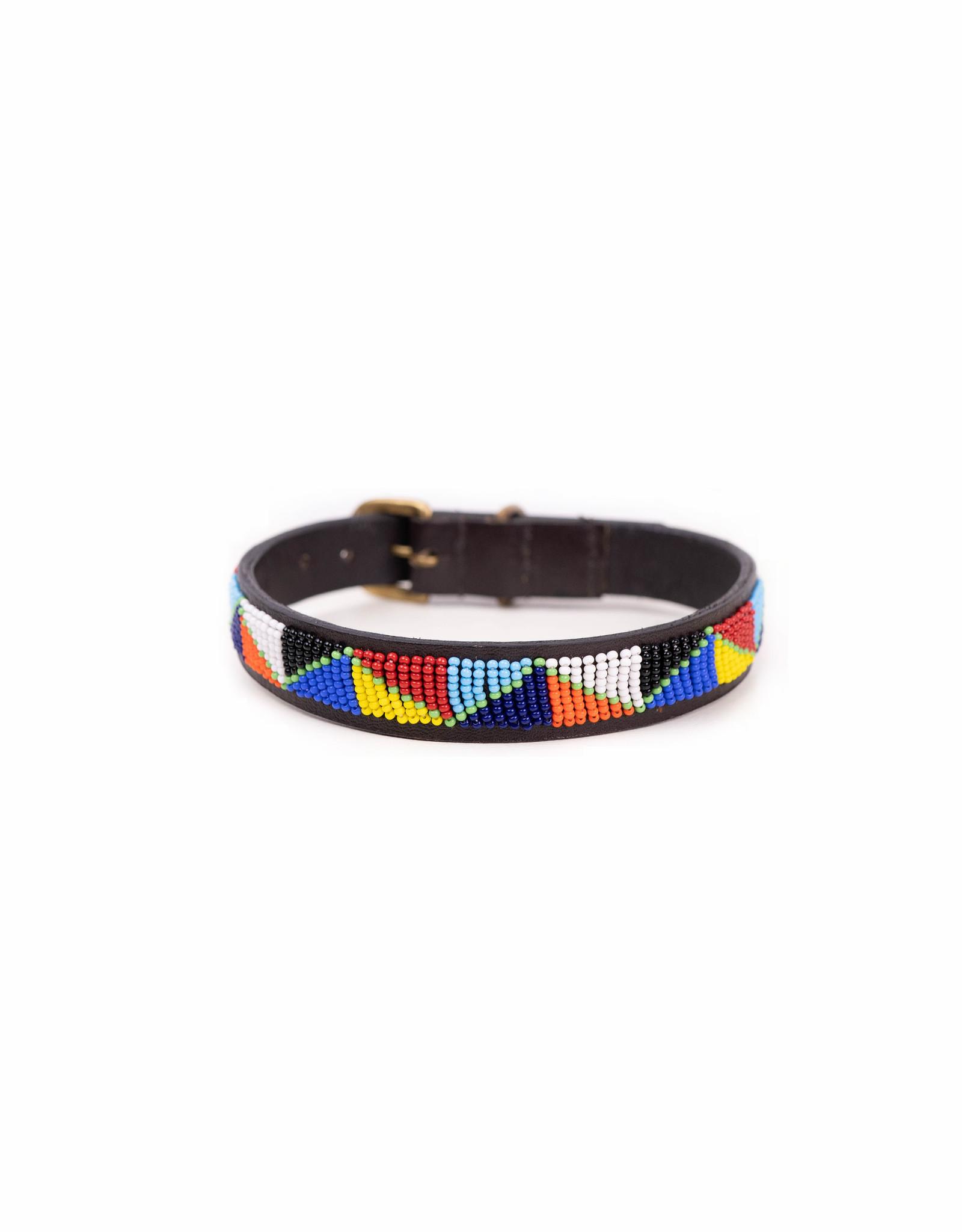 Maisha.Style Dog collar - Maasai triangles on brown leather
