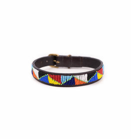 Maisha.Style Dog collar - Maasai triangles on brown leather