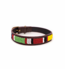 Maisha.Style Dog collar - Mondriaan on brown leather