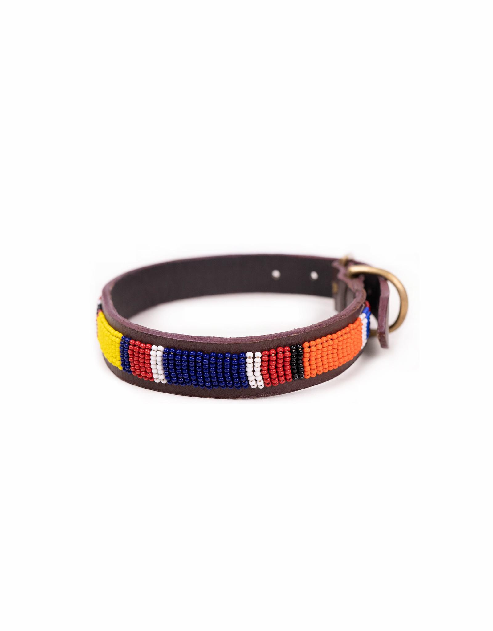 Maisha.Style Dog collar - Mondriaan on brown leather