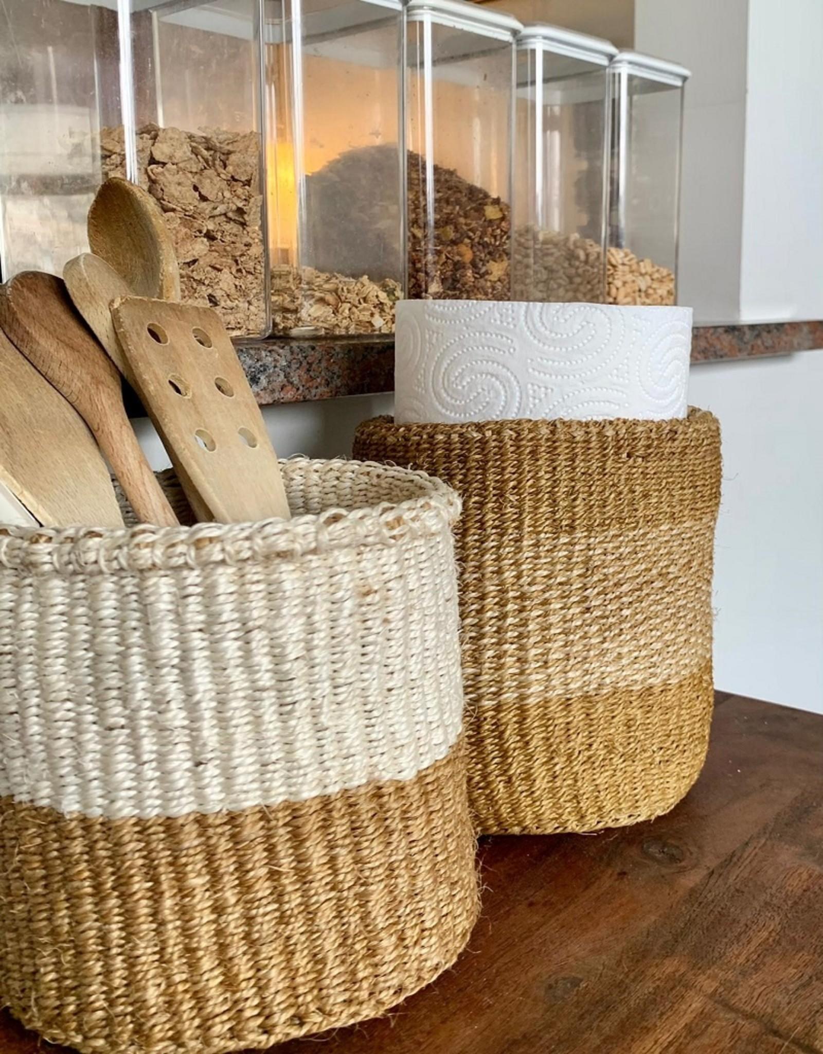 Maisha.Style Taita basket - ochre & ivory - S11