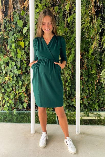 Comfy dress 7/8 sleeves - dark green