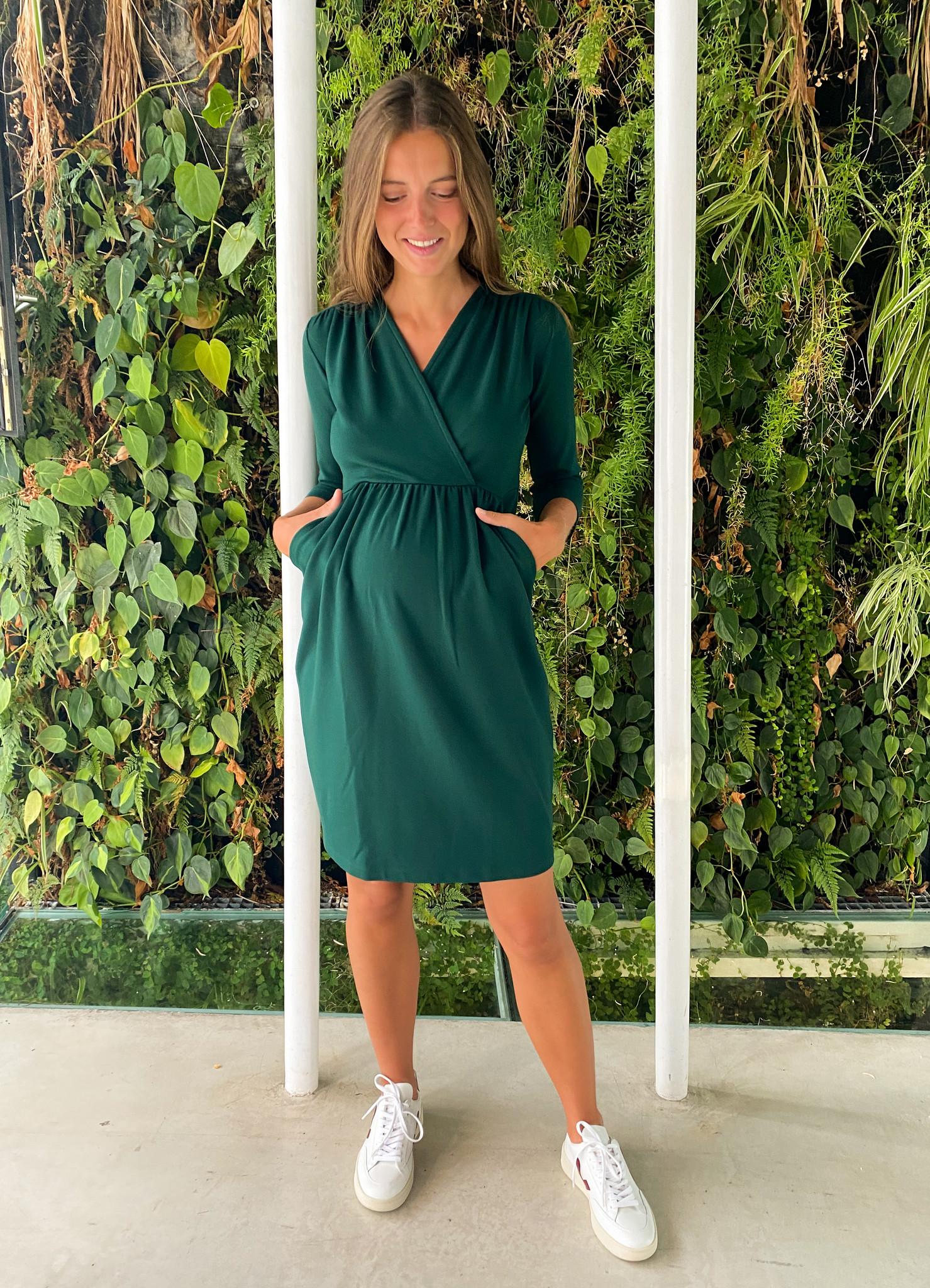 Comfy dress 7/8 sleeves - dark green-1