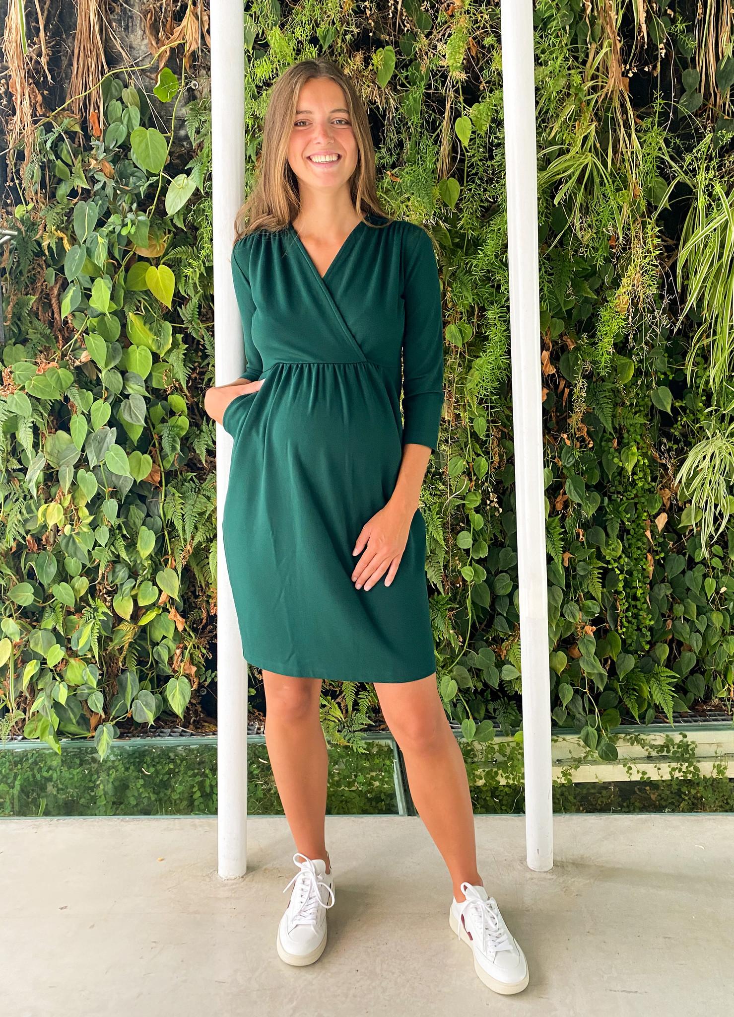 Comfy dress 7/8 sleeves - dark green-3